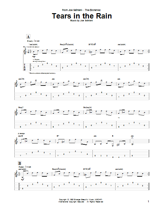 Tablature guitare Tears In The Rain de Joe Satriani - Tablature Guitare