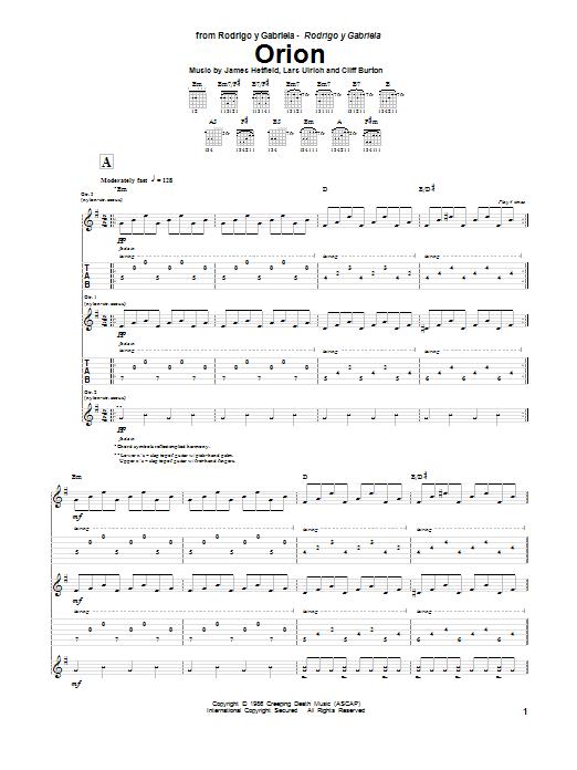 Tablature guitare Orion de Metallica - Tablature Guitare