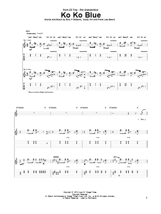 Tablature guitare Ko Ko Blue de ZZ Top - Tablature Guitare