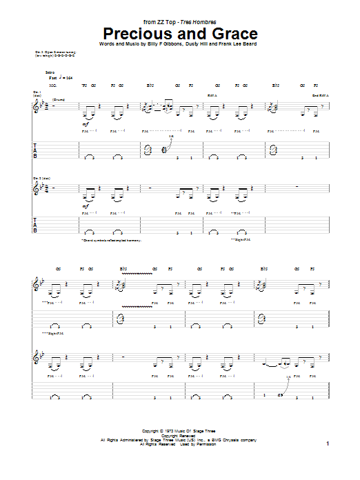 Tablature guitare Precious And Grace de ZZ Top - Tablature Guitare