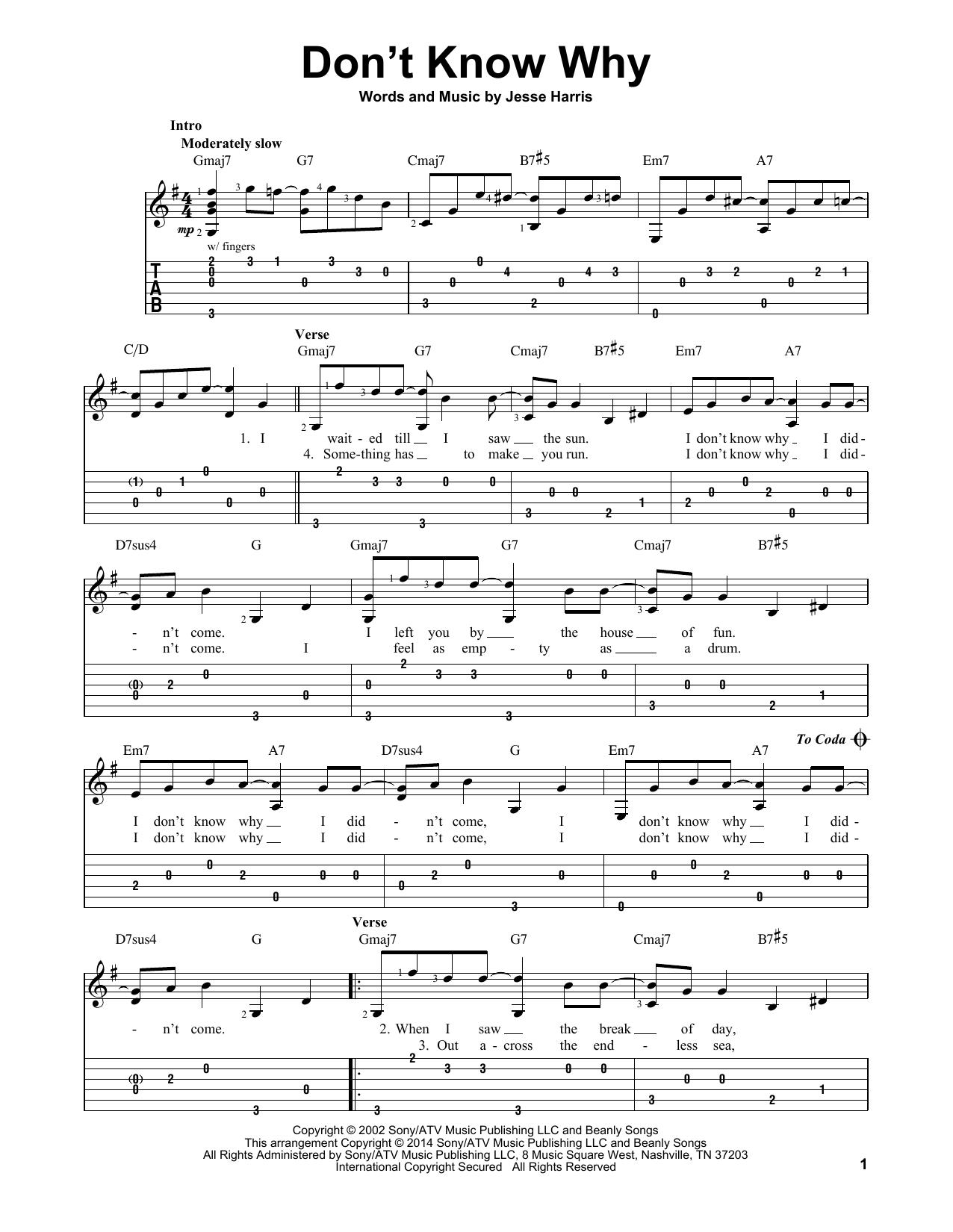 Tablature guitare Don't Know Why de Norah Jones - Tablature guitare facile