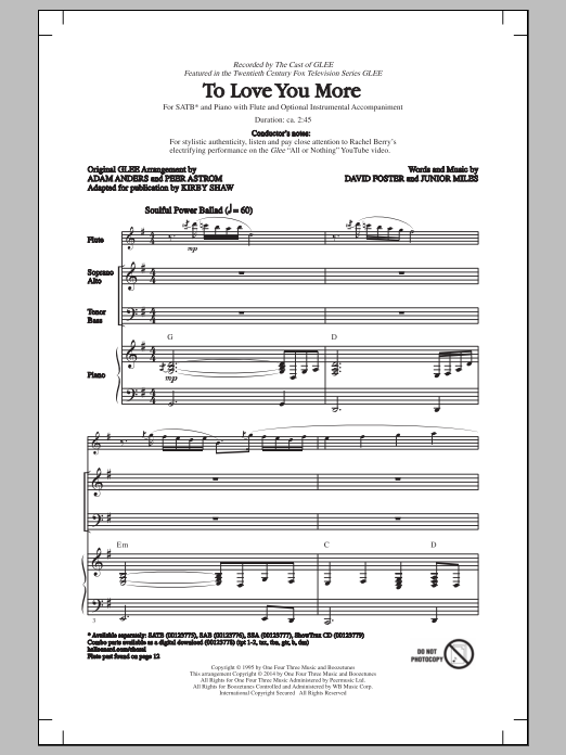Partition chorale To Love You More (arr. Kirby Shaw) de Glee Cast - SATB
