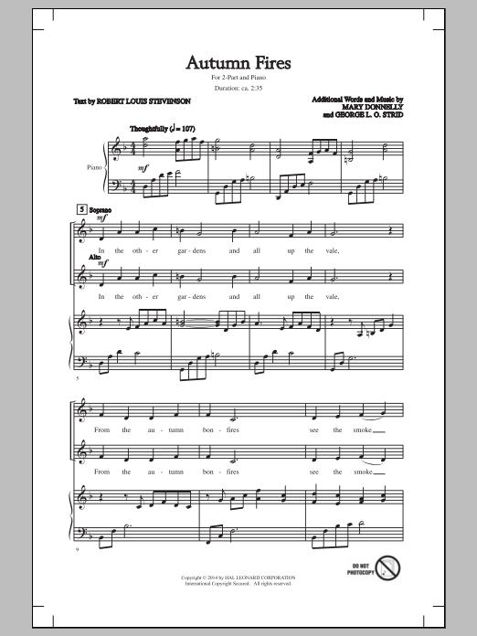 Partition chorale Autumn Fires de Mary Donnelly - 2 voix