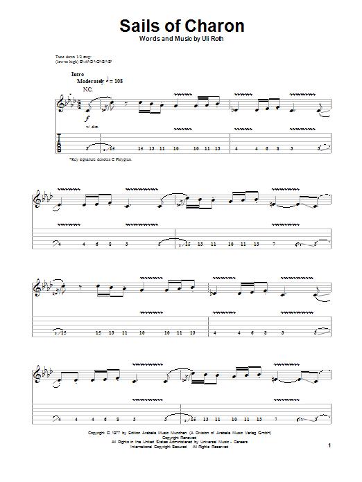 Tablature guitare Sails Of Charon de Scorpions - Tablature Guitare