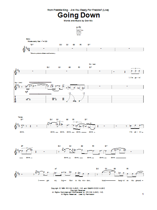 Tablature guitare Going Down de Don Nix - Tablature Guitare