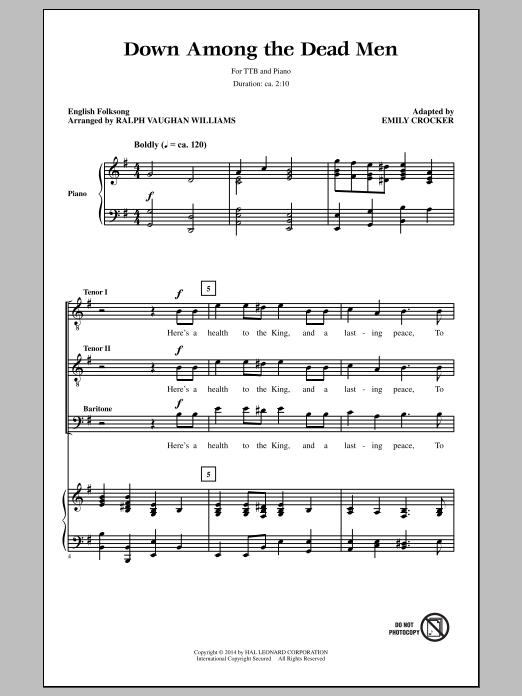 Partition chorale Down Among The Dead Men de Ralph Vaughan Williams - TTBB