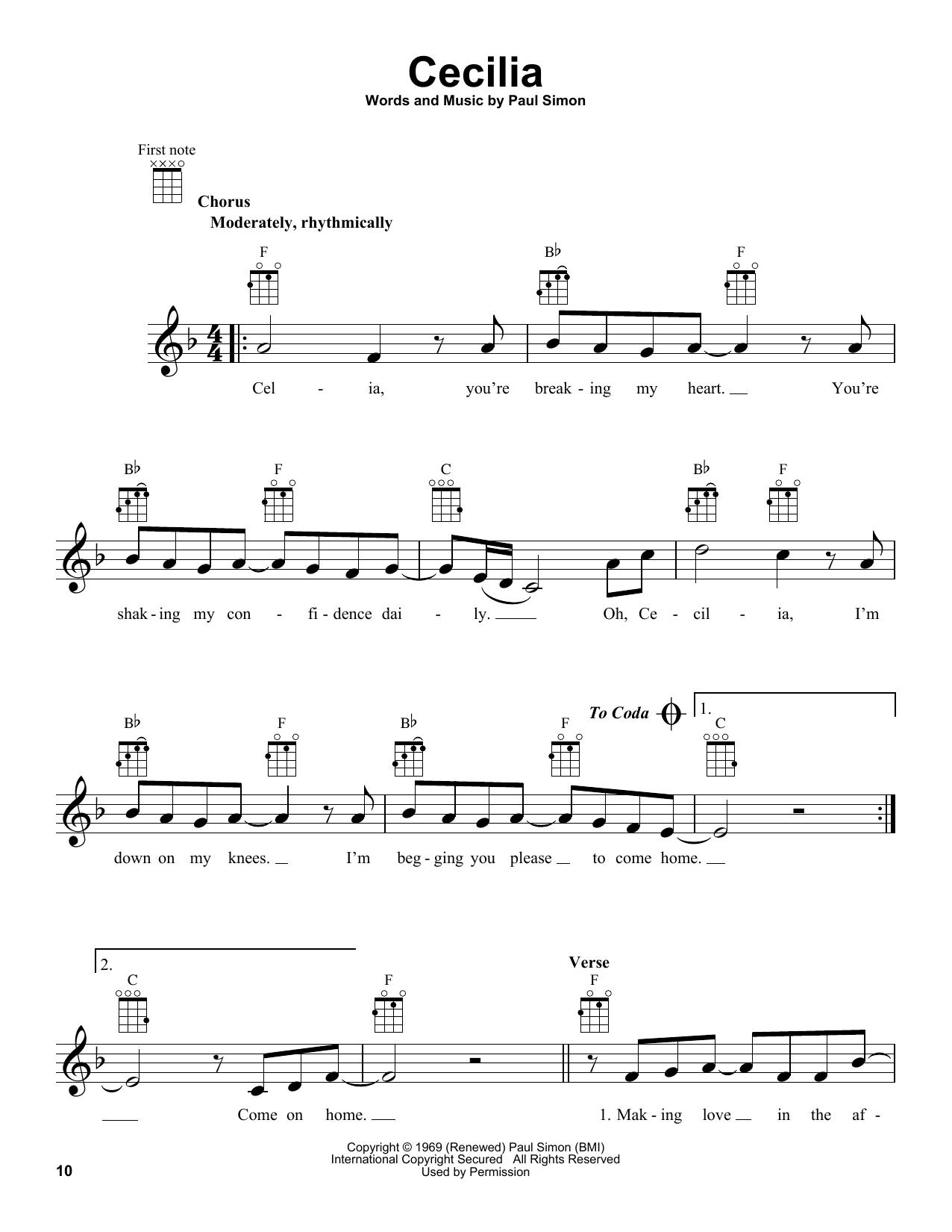 Tablature guitare Cecilia de Simon & Garfunkel - Ukulele