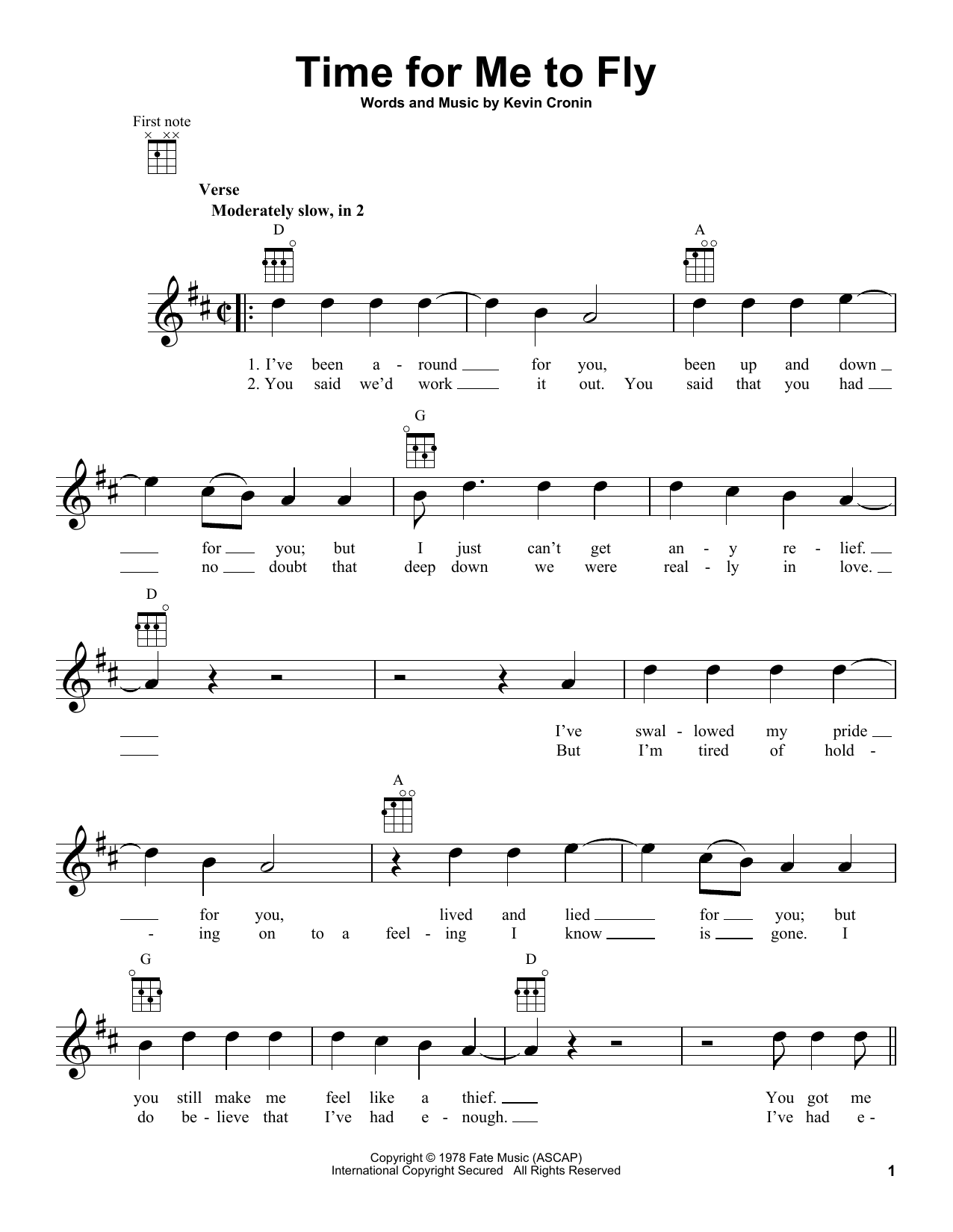 Tablature guitare Time For Me To Fly de REO Speedwagon - Ukulele
