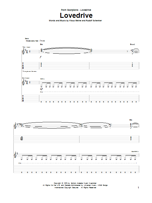 Tablature guitare Lovedrive de Scorpions - Tablature Guitare