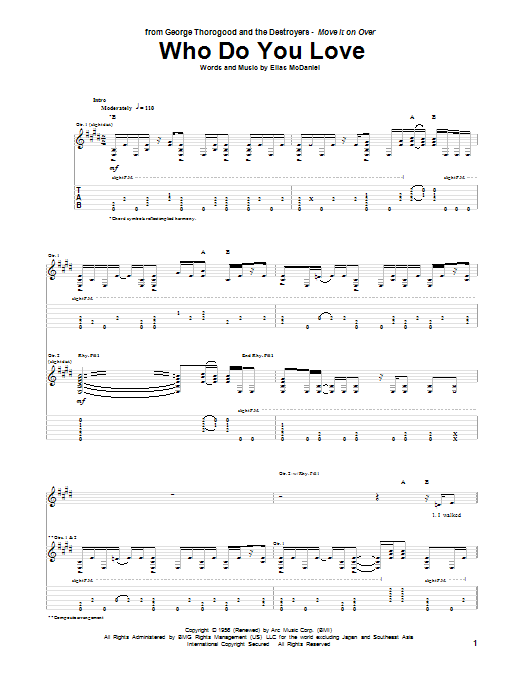 Tablature guitare Who Do You Love de George Thorogood - Tablature Guitare