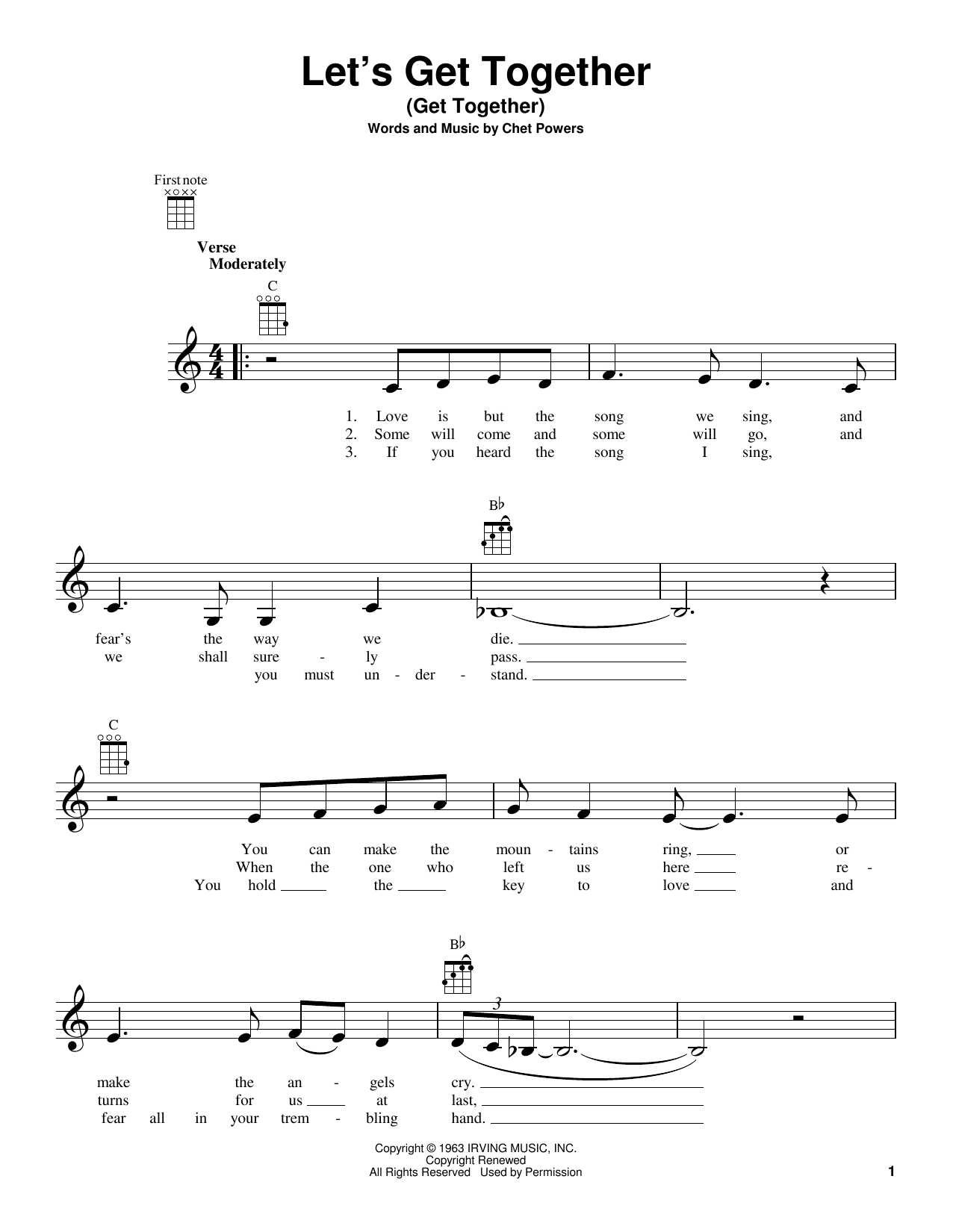 Tablature guitare Let's Get Together (Get Together) de The Youngbloods - Ukulele