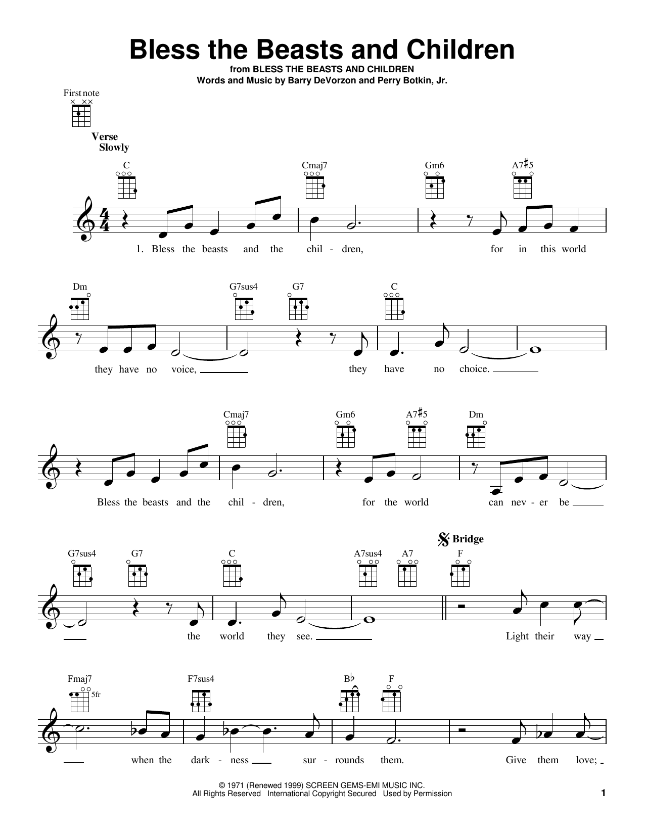 Tablature guitare Bless The Beasts And Children de The Carpenters - Ukulele