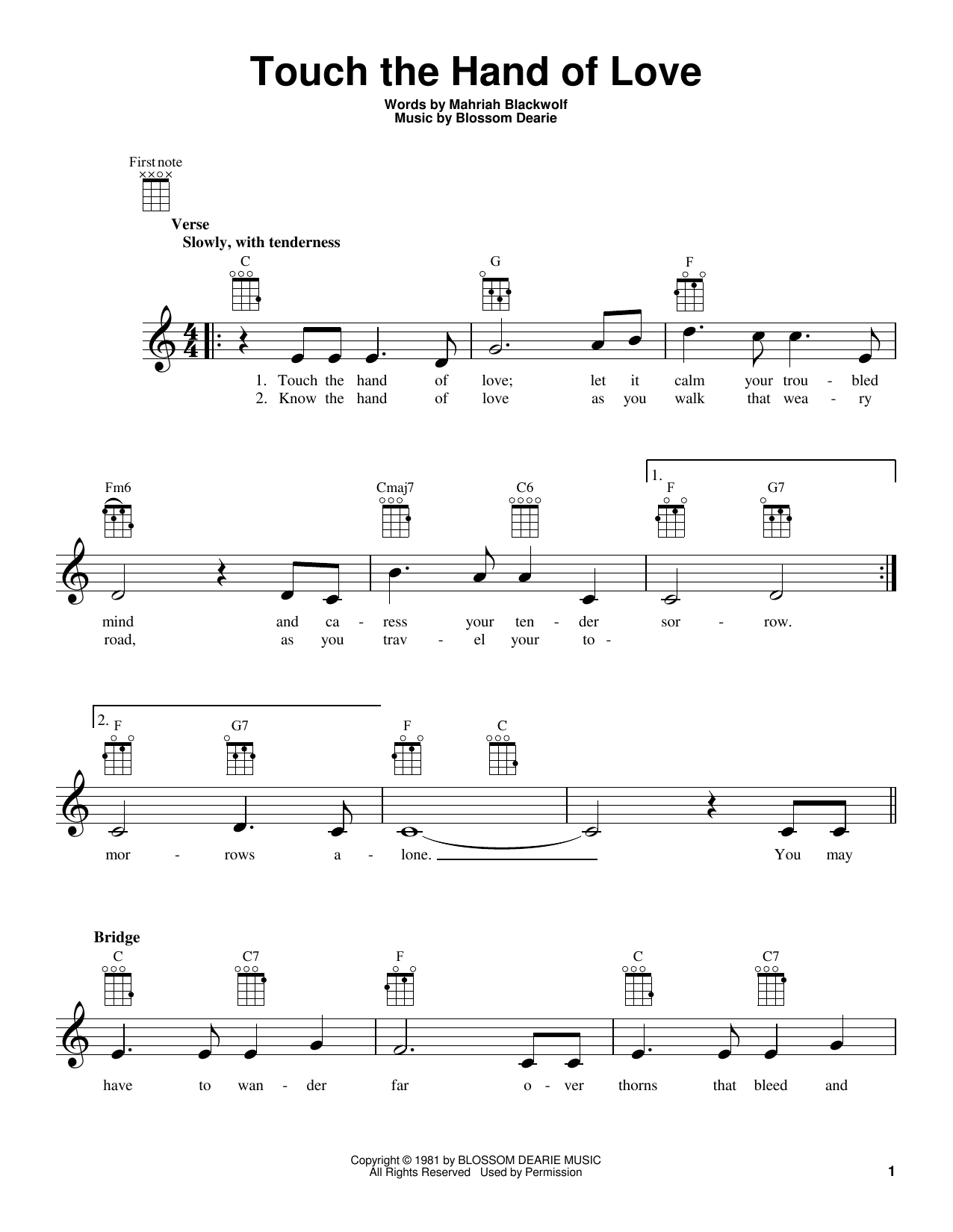 Tablature guitare Touch The Hand Of Love de Blossom Dearie - Ukulele