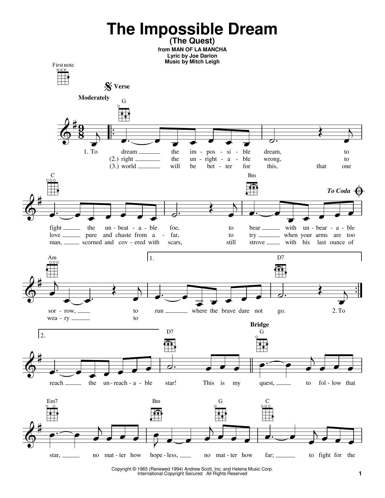 Tablature guitare The Impossible Dream (The Quest) de Mitch Leigh - Ukulele