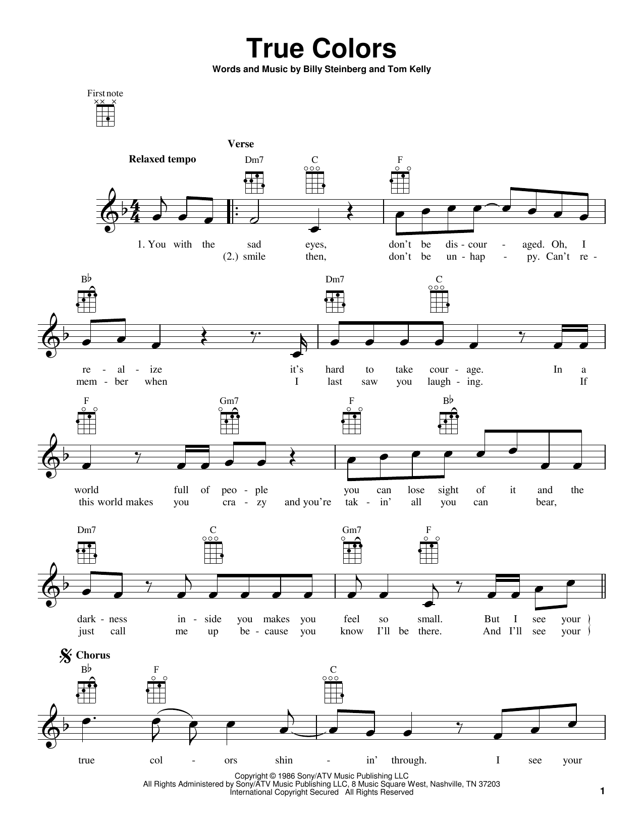 Tablature guitare True Colors de Cyndi Lauper - Ukulele