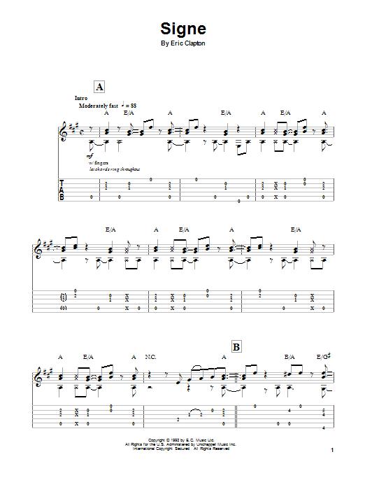 Tablature guitare Signe de Eric Clapton - Tablature Guitare