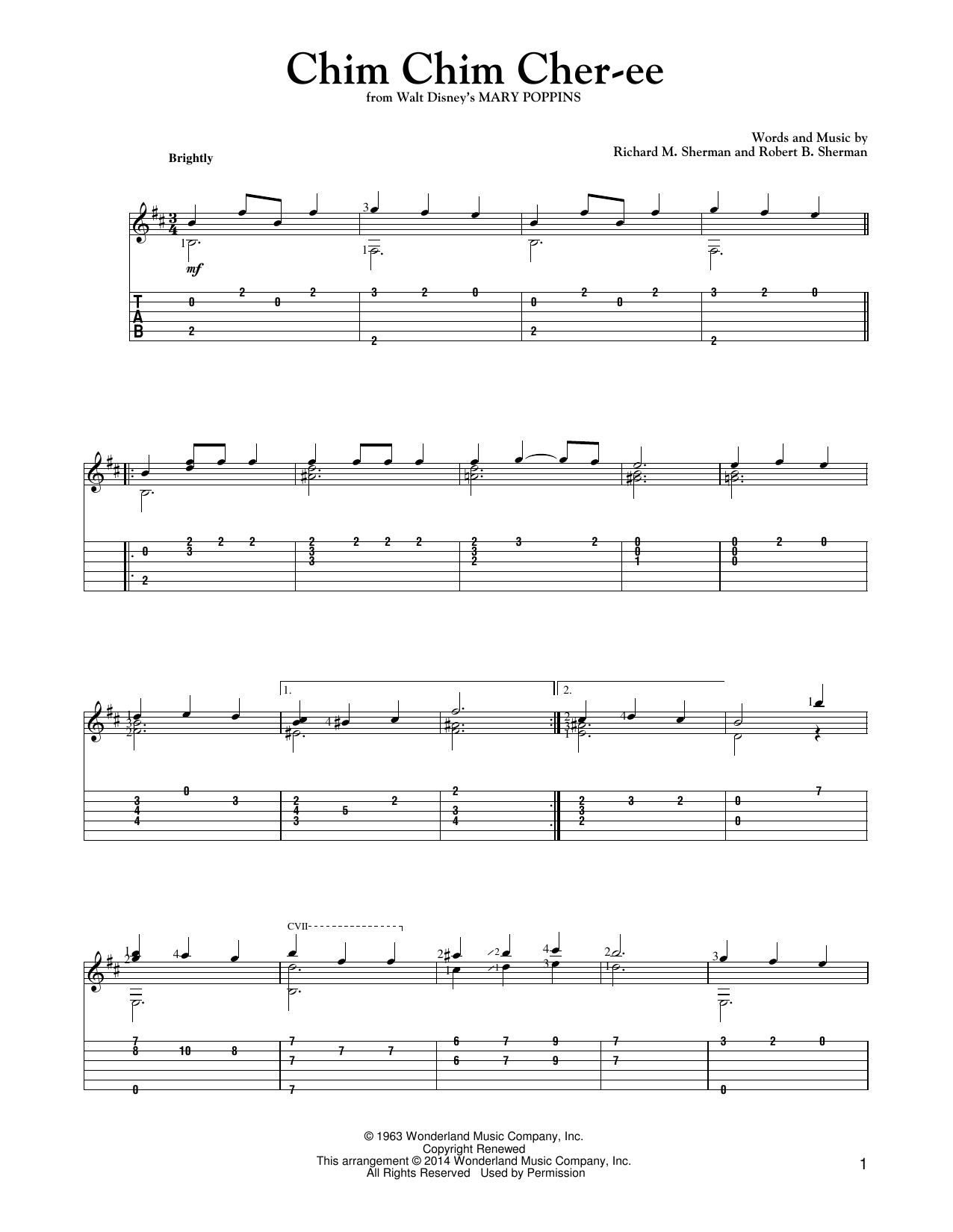Tablature guitare Chim Chim Cher-ee de Mark Phillips - Tablature Guitare