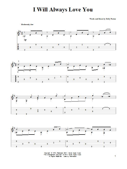 Tablature guitare I Will Always Love You de Dolly Parton - Tablature Guitare