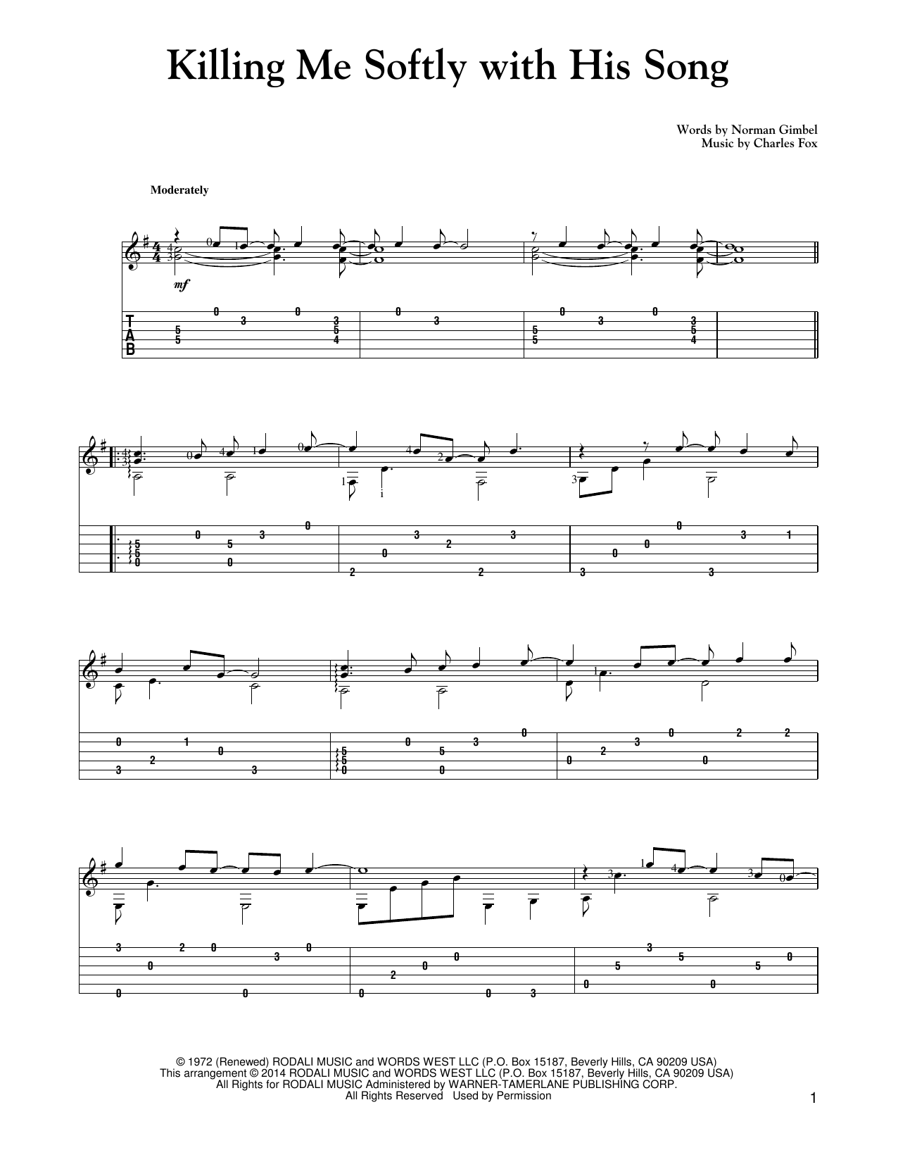 Tablature guitare Killing Me Softly With His Song de Roberta Flack - Tablature Guitare