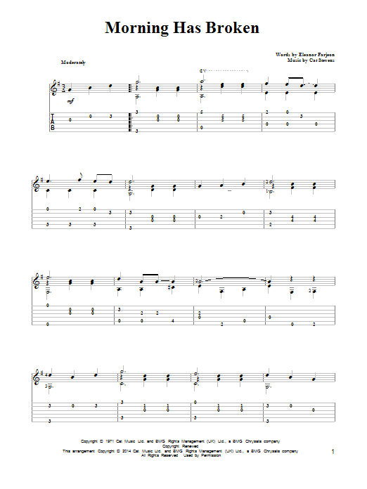 Tablature guitare Morning Has Broken de Cat Stevens - Tablature Guitare