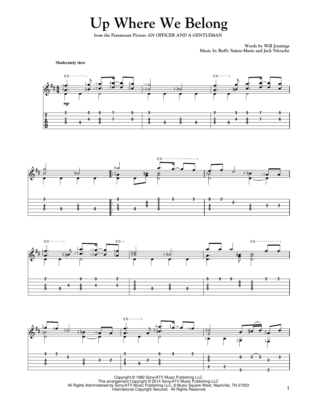 Tablature guitare Up Where We Belong (from An Officer And A Gentleman) de Joe Cocker and Jennifer Warnes - Tablature Guitare