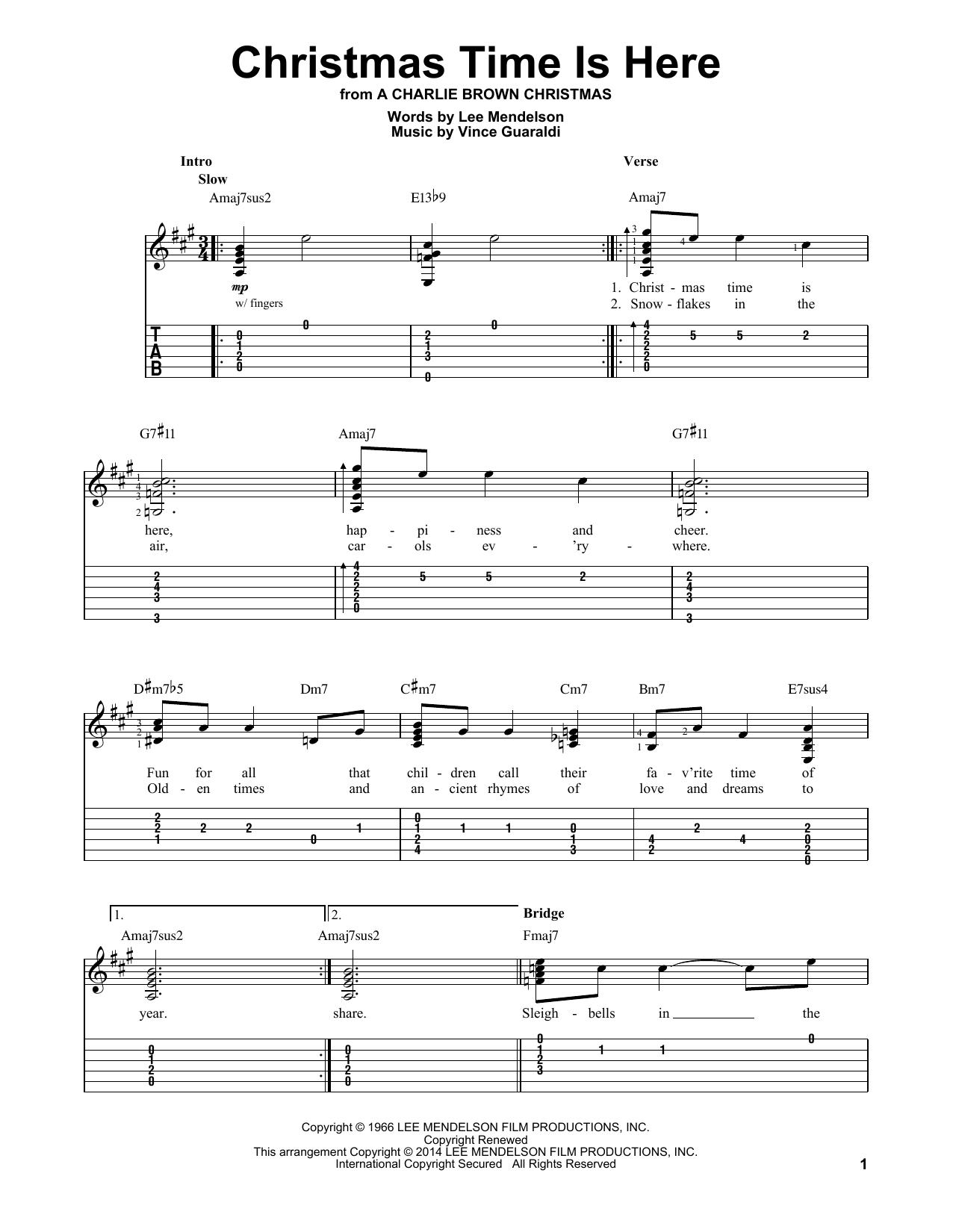 Tablature guitare Christmas Time Is Here de Vince Guaraldi - Tablature guitare facile