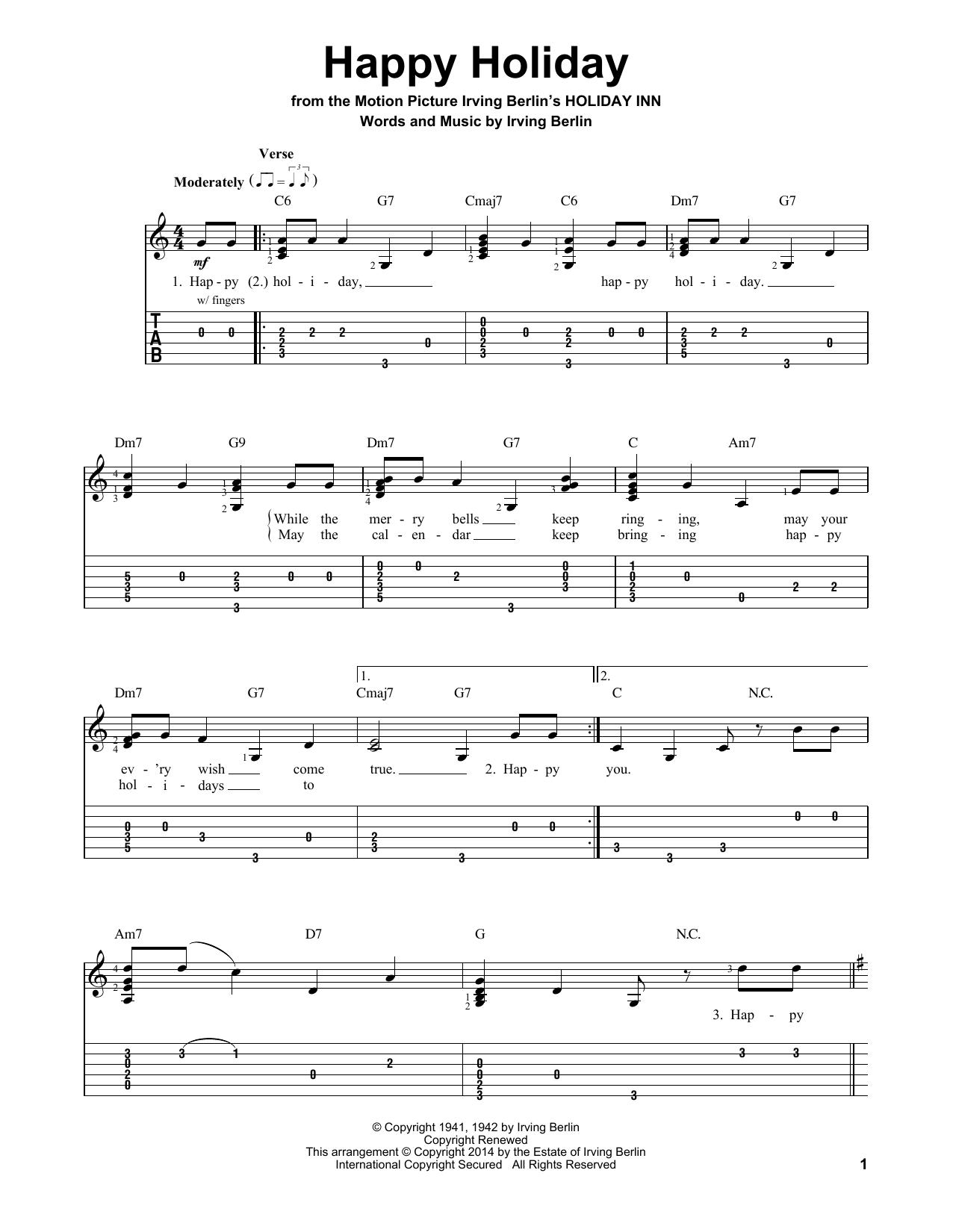 Tablature guitare Happy Holiday de Irving Berlin - Tablature guitare facile