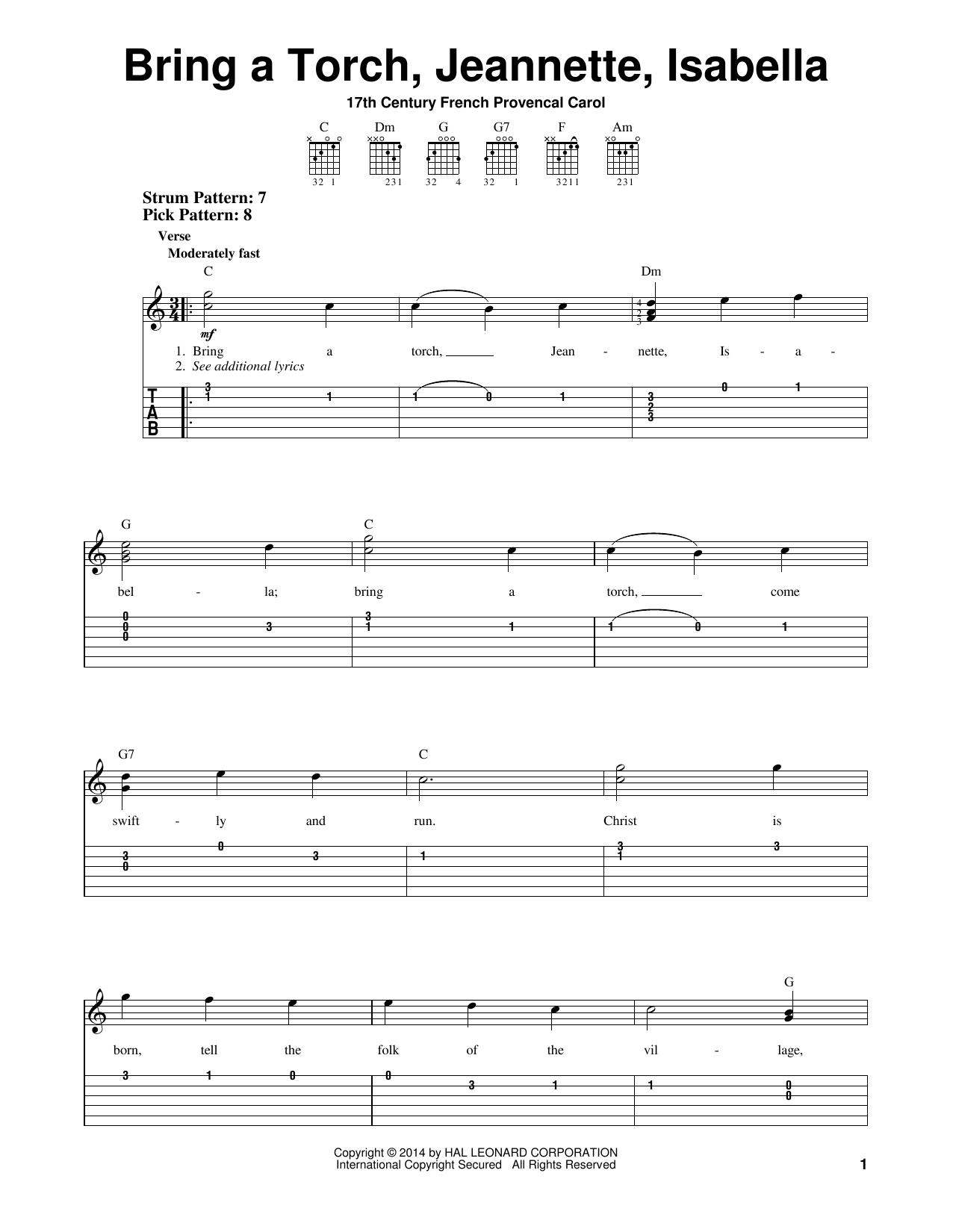 Tablature guitare Bring A Torch, Jeannette, Isabella de 17th Century French Carol - Tablature guitare facile
