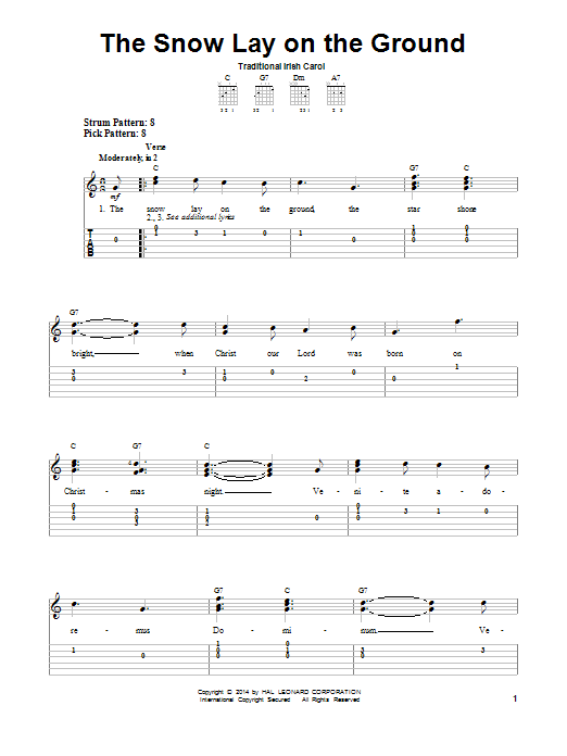 Tablature guitare The Snow Lay On The Ground de Traditional Carol - Tablature guitare facile