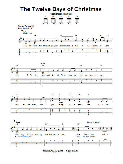 The Twelve Days Of Christmas by Traditional English Carol - Easy Guitar Tab - Guitar Instructor