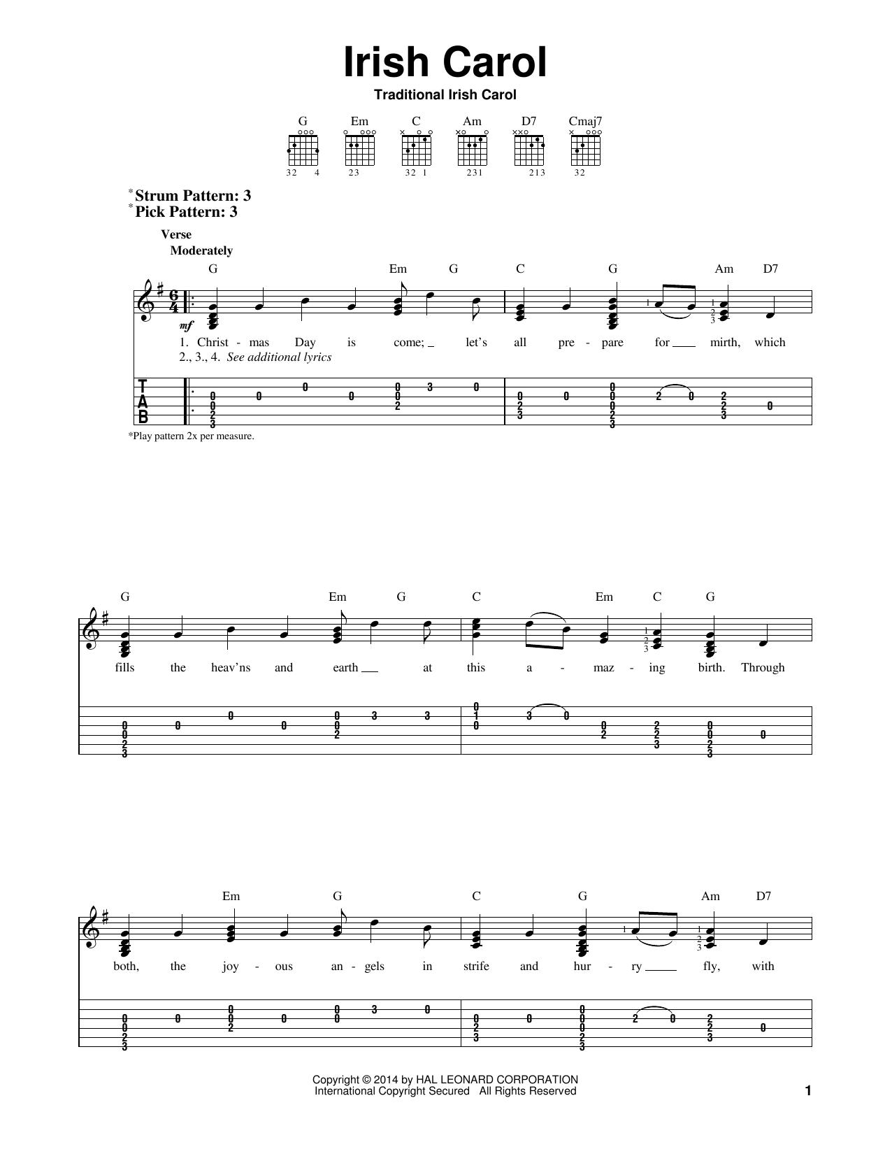 Tablature guitare Irish Carol de Traditional - Tablature guitare facile