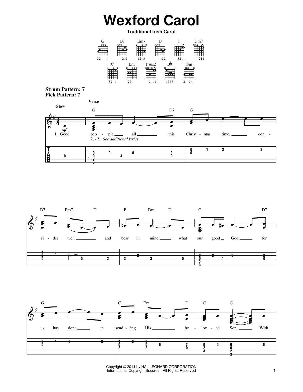 Tablature guitare Wexford Carol de Traditional Irish Carol - Tablature guitare facile