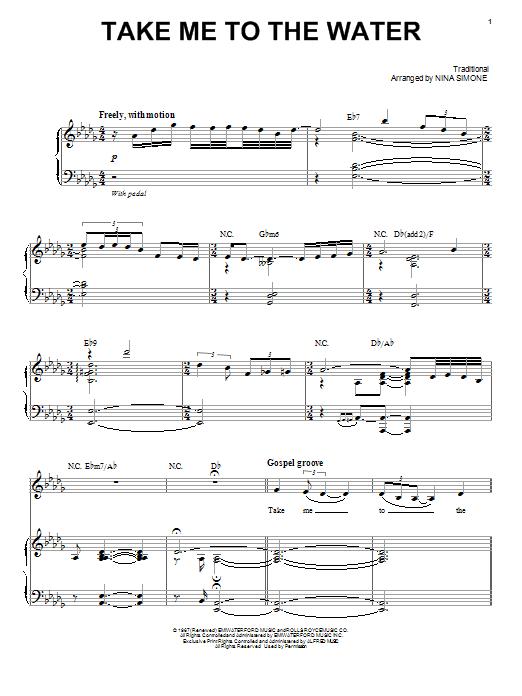 Partition piano Take Me To The Water de Nina Simone - Piano Voix