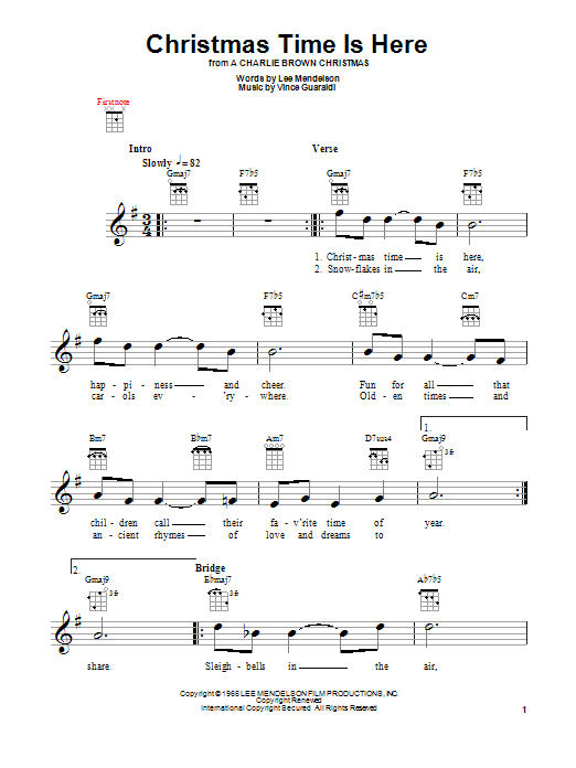 Tablature guitare Christmas Time Is Here de Vince Guaraldi - Ukulele