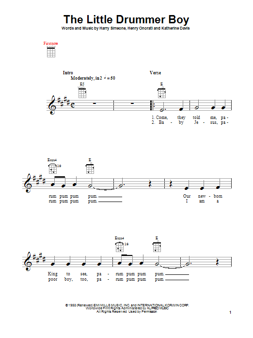 Tablature guitare The Little Drummer Boy de Katherine K. Davis - Ukulele