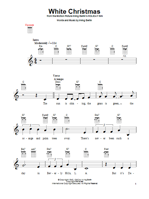 Tablature guitare White Christmas de Irving Berlin - Ukulele
