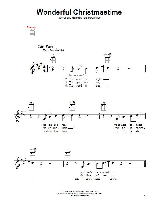 Tablature guitare Wonderful Christmastime de Paul McCartney - Ukulele