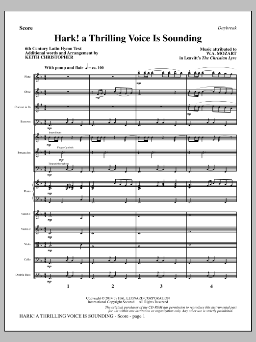 Hark! A Thrilling Voice Is Sounding (COMPLETE) sheet music for orchestra/band by Keith Christopher