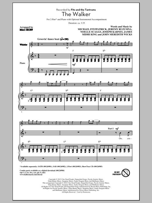 Partition chorale The Walker de Fitz And The Tantrums - 2 voix