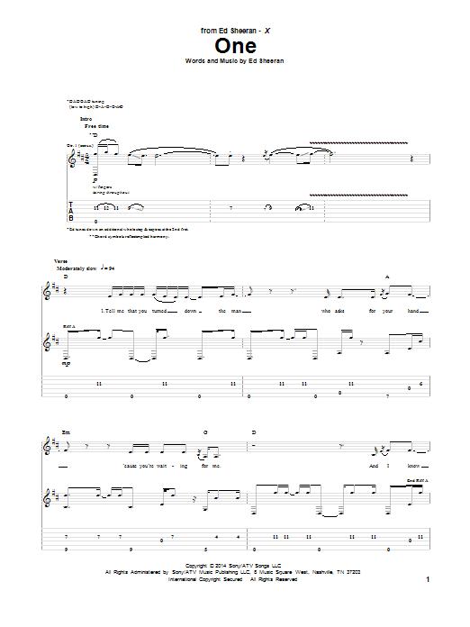 Tablature guitare One de Ed Sheeran - Tablature Guitare