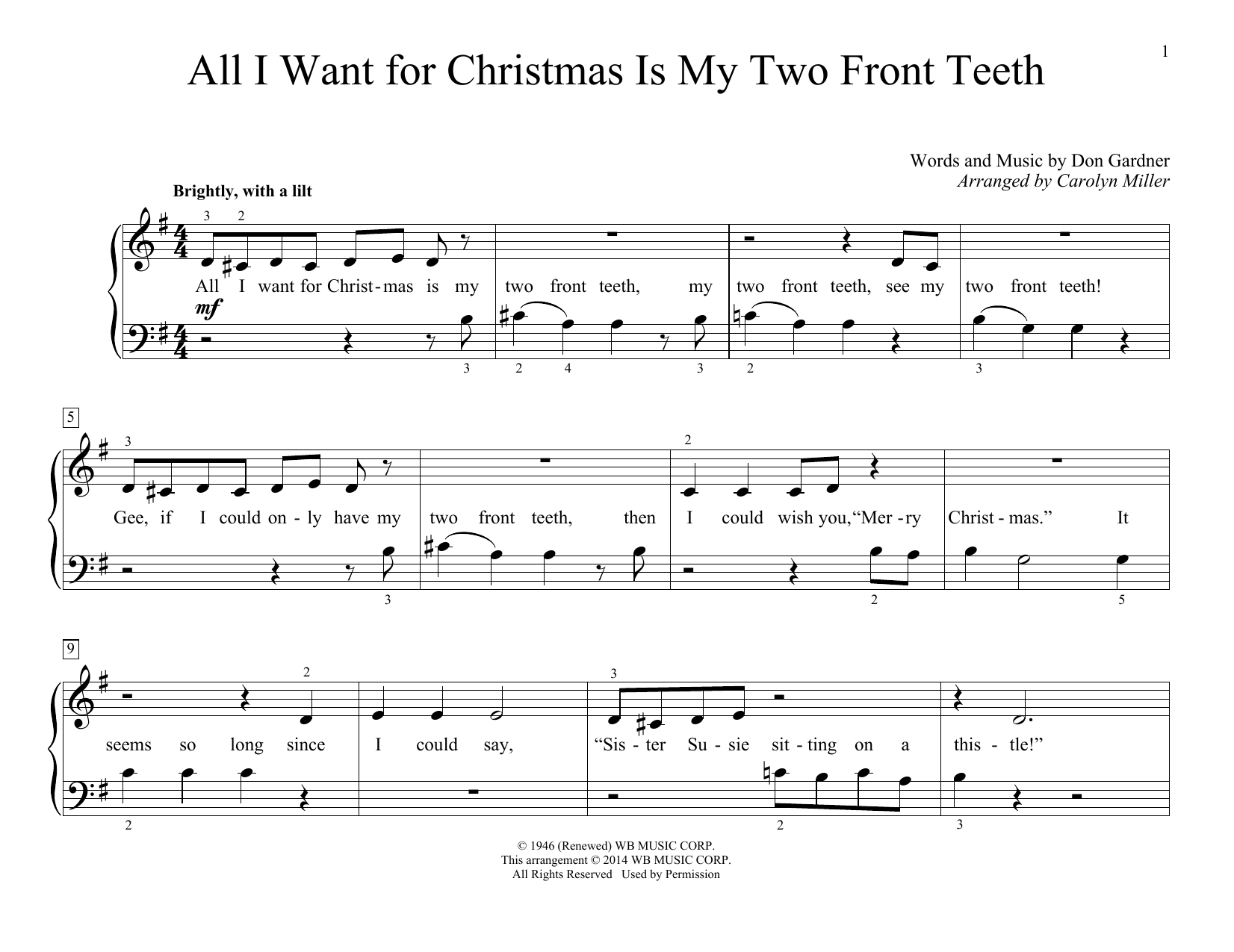 Partition piano All I Want For Christmas Is My Two de Don Gardner - Piano Facile