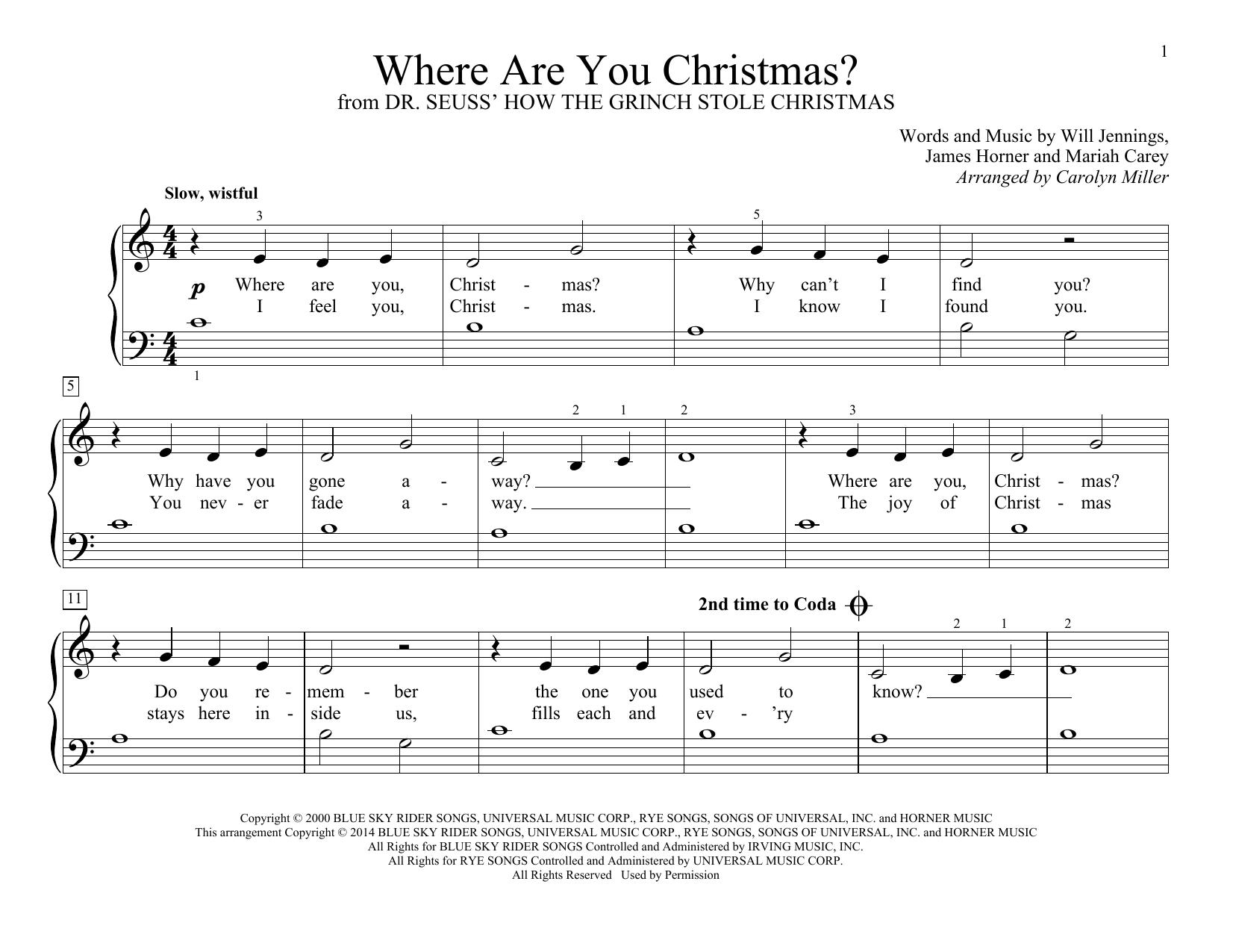 Partition piano Where Are You Christmas? de Faith Hill - Piano Facile