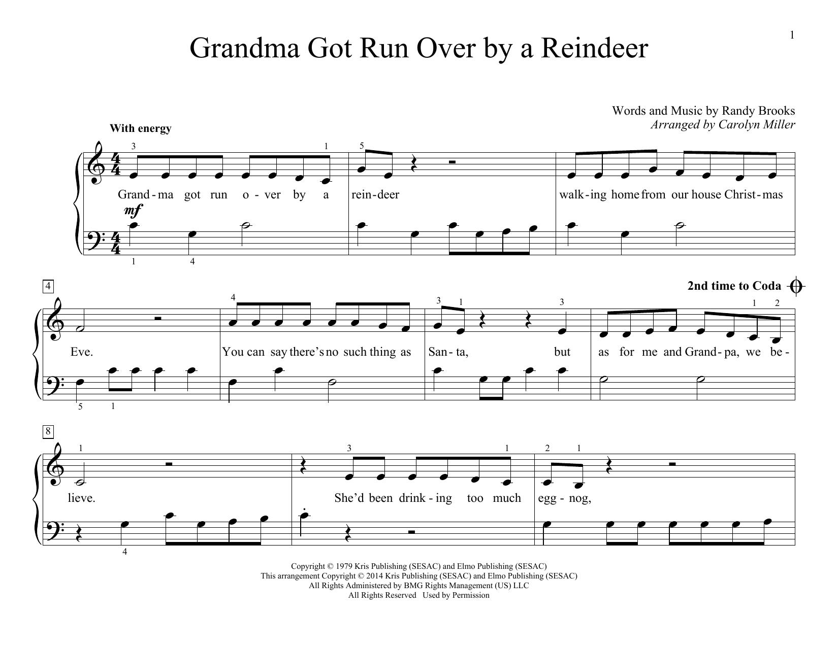 Partition piano Grandma Got Run Over By A Reindeer de Carolyn Miller - Piano Facile