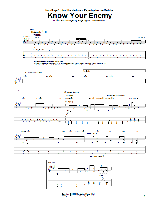 Tablature guitare Know Your Enemy de Rage Against The Machine - Tablature Guitare