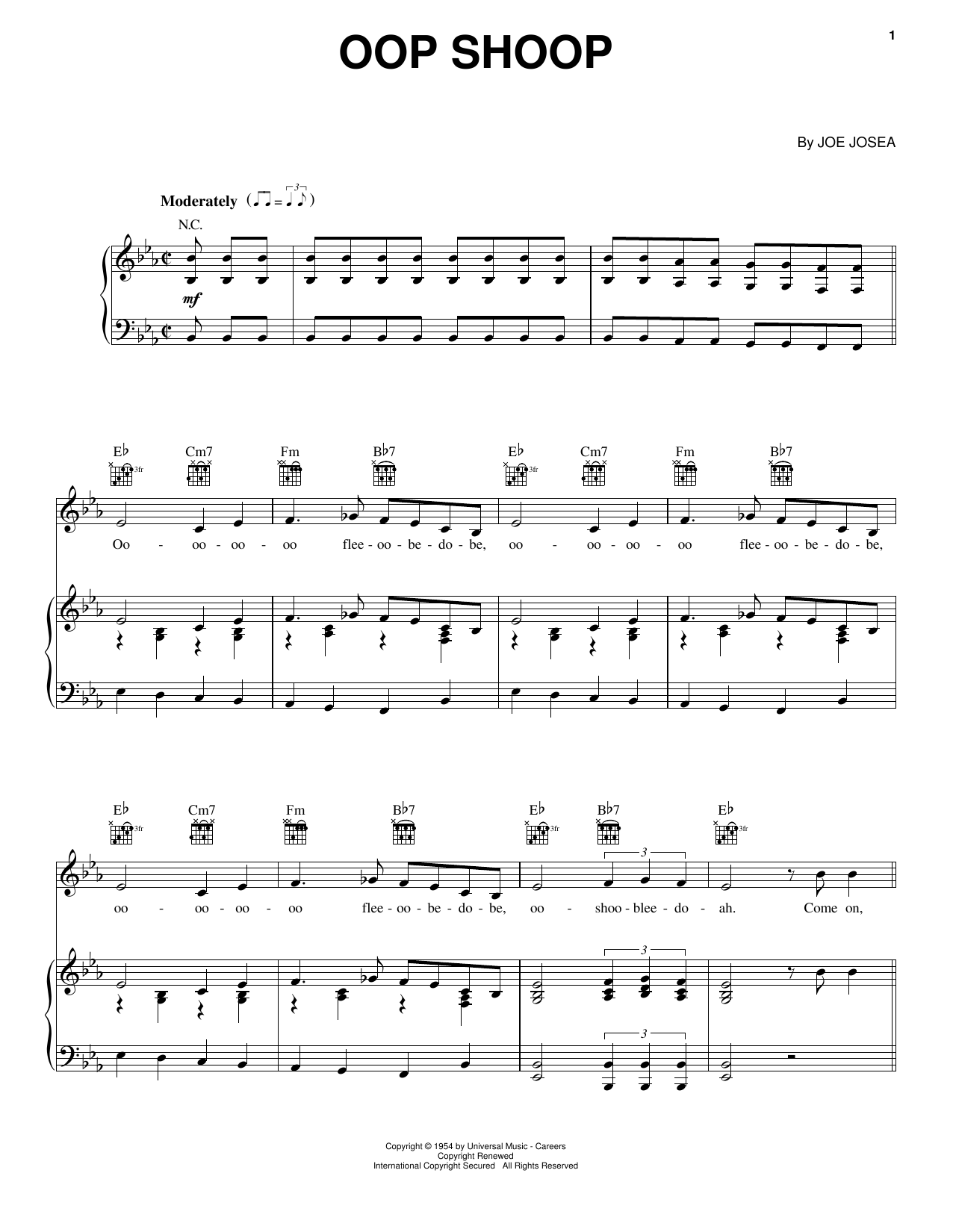 Partition piano Oop Shoop de Shirley Gunter & The Queens - Piano Voix Guitare (Mélodie Main Droite)