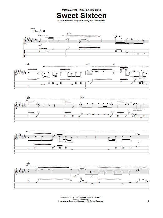 Tablature guitare Sweet Sixteen de B.B. King - Tablature Guitare