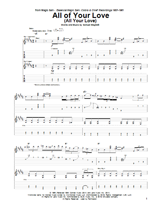 Tablature guitare All Of Your Love (All Your Love) de Magic Sam - Tablature Guitare