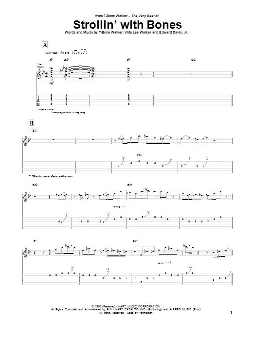 Tablature guitare Strollin' With Bones de T-Bone Walker - Tablature Guitare