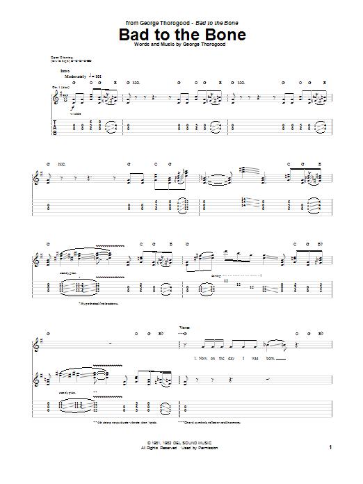 Tablature guitare Bad To The Bone de George Thorogood - Tablature Guitare