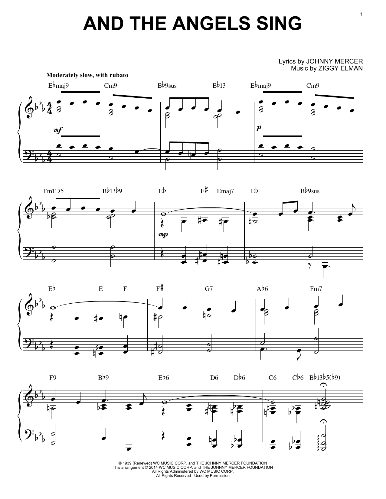 Partition piano And The Angels Sing de Johnny Mercer - Piano Solo